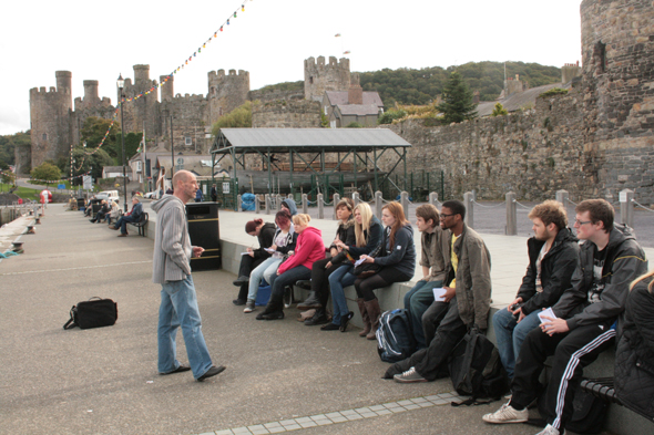 Nigel and the first year animation students at Conwy Harbour