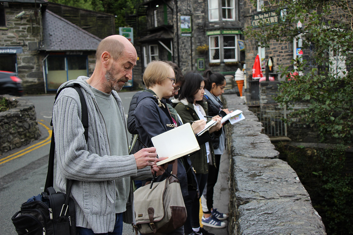 Animation Students drawing in Betws y Coed, North Wales.