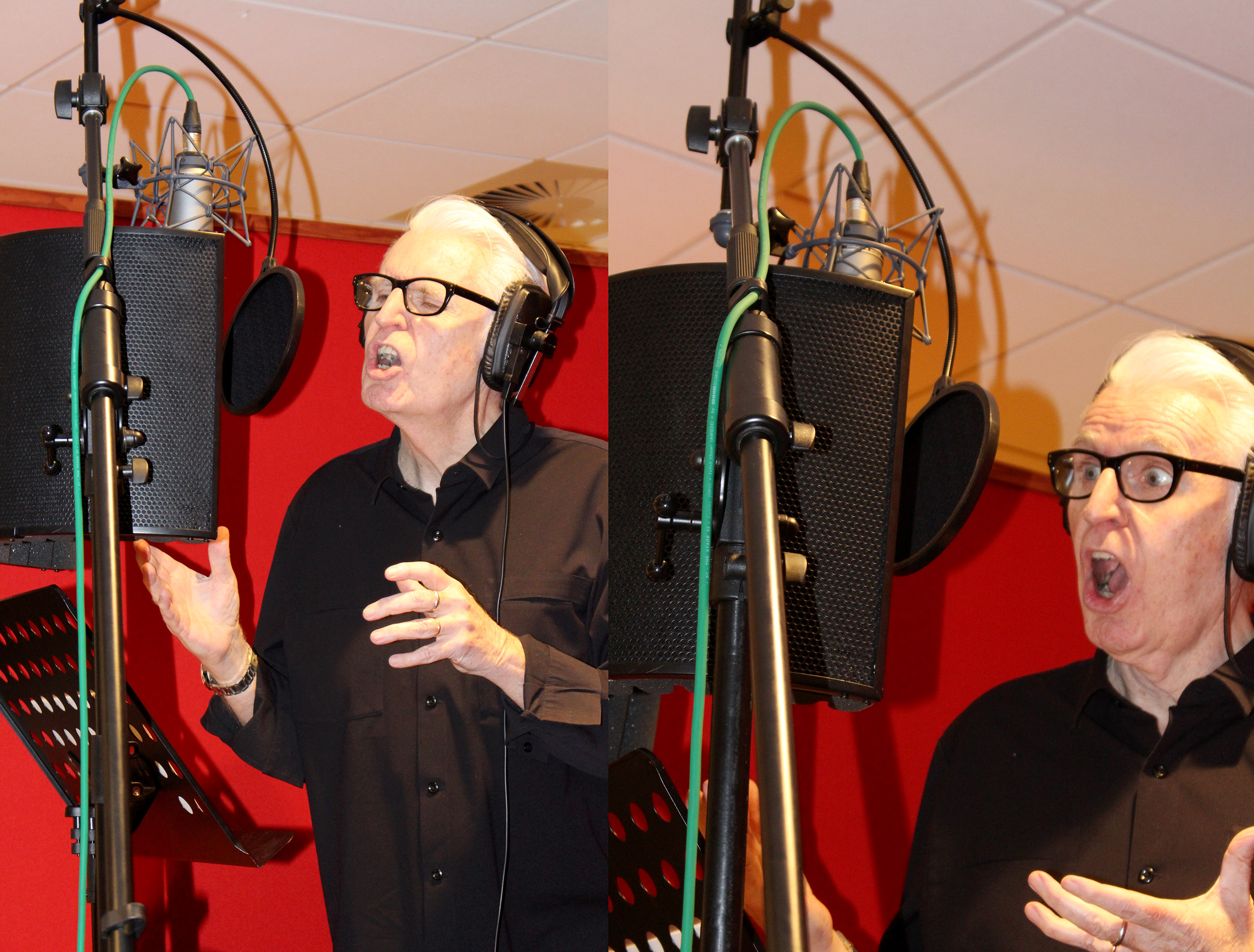 Mike McCartney recording the voices for his 'Weirdo' series of sketches