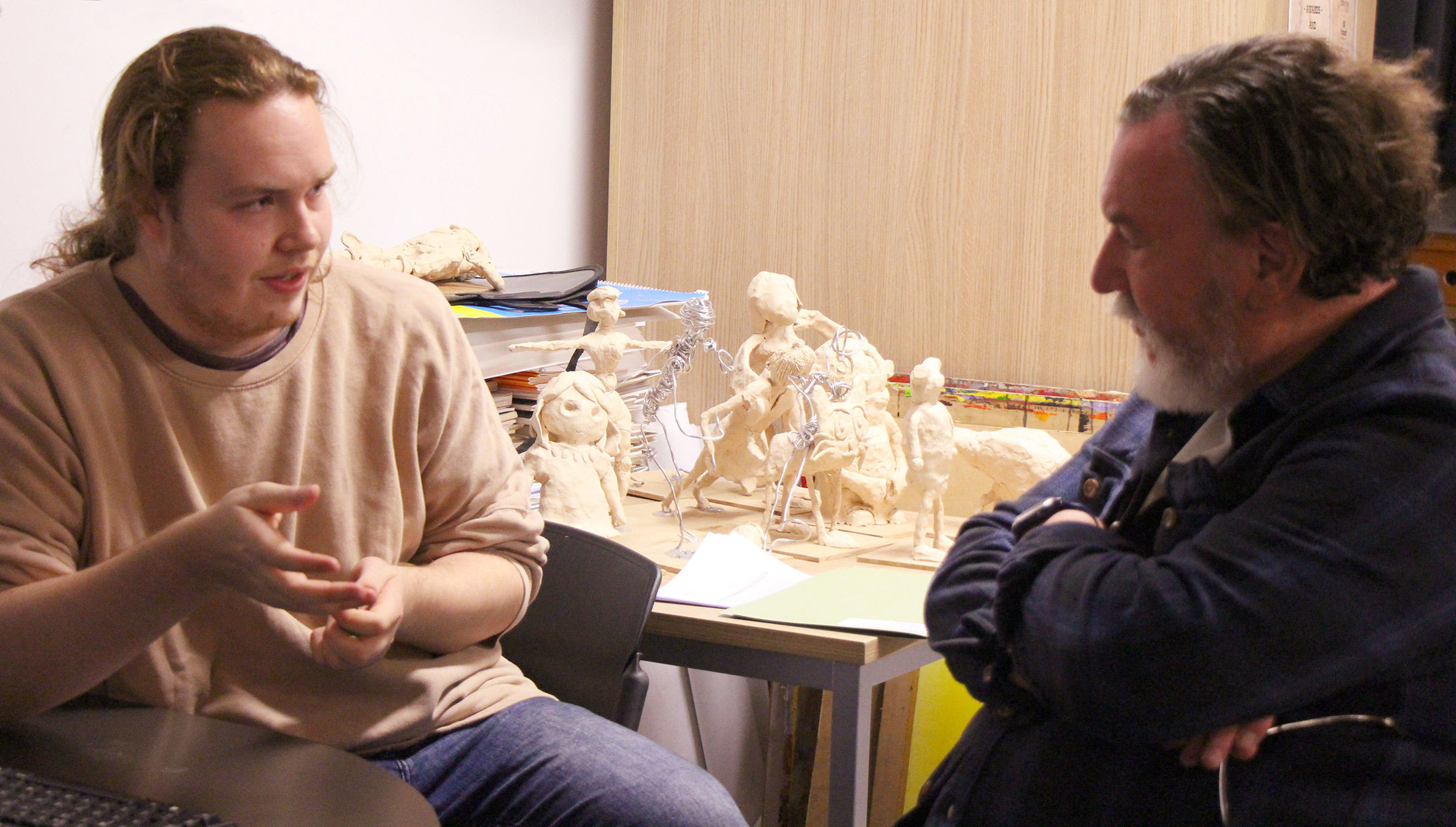 Barry Purves talking with 3rd year Animation students