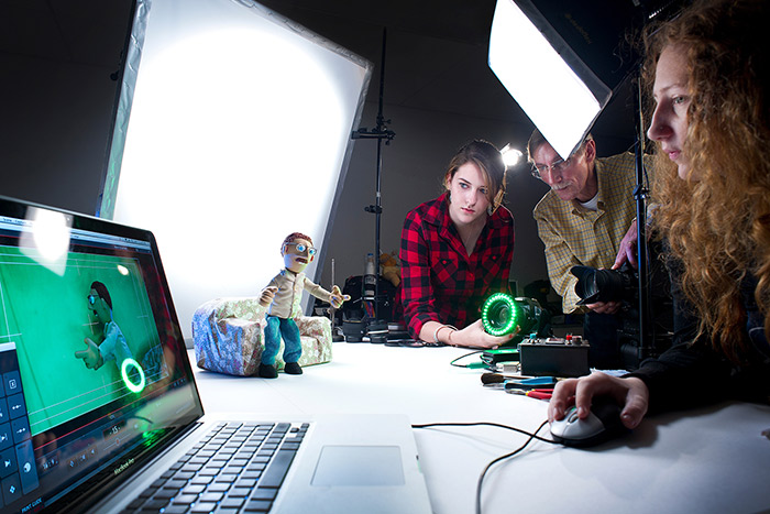 Animation students undertaking stop-motion animation and green screen production work