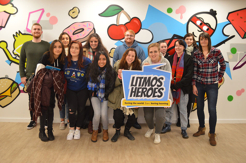 Edge Hill animation students visiting the studio of Litmos Heroes
