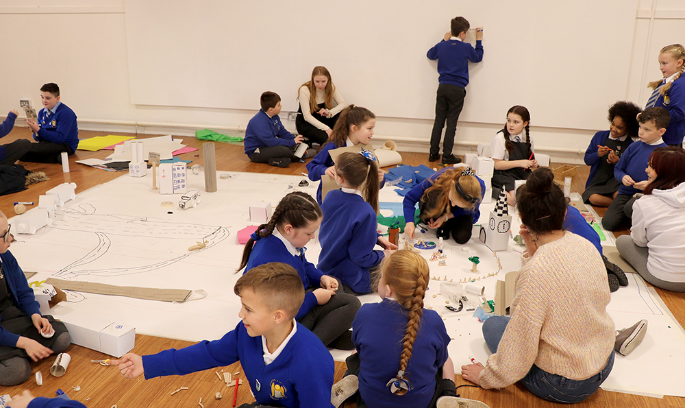Edge Hill animation students undertaking schools workshop at Chapel Gallery