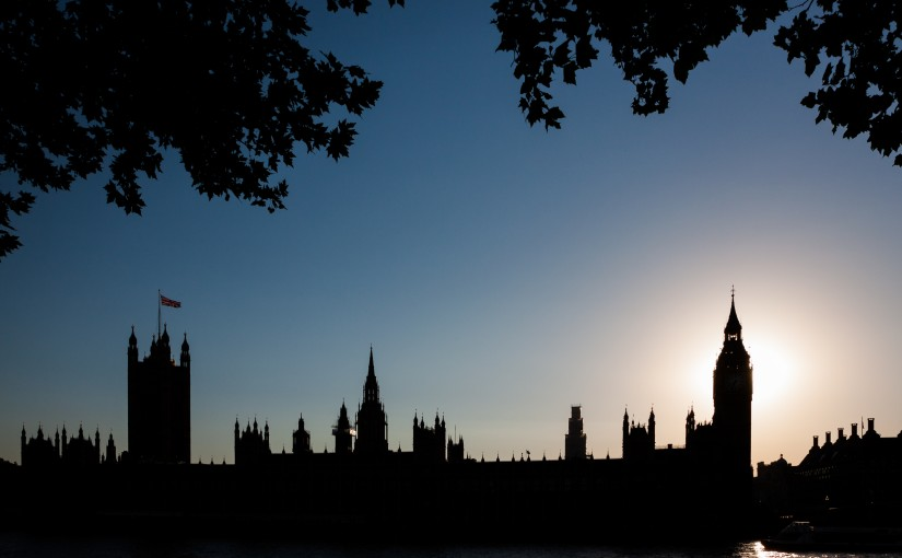 A twilight view of the Houses of Parliament