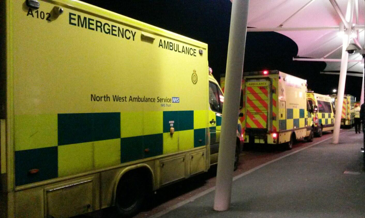 ambulances queuing outside A&E at a North West hospital