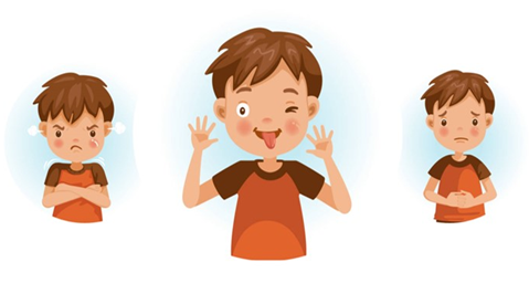 3 images of a boy, one upset, one pulling his tongue out his mouth and one looking sad.