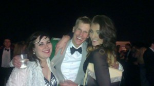 My sister and my friend with Tom, who was 'passing out'
