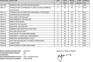 The modules I took whilst at Edge Hill, my overall percentage marks for them and overall degree classification.