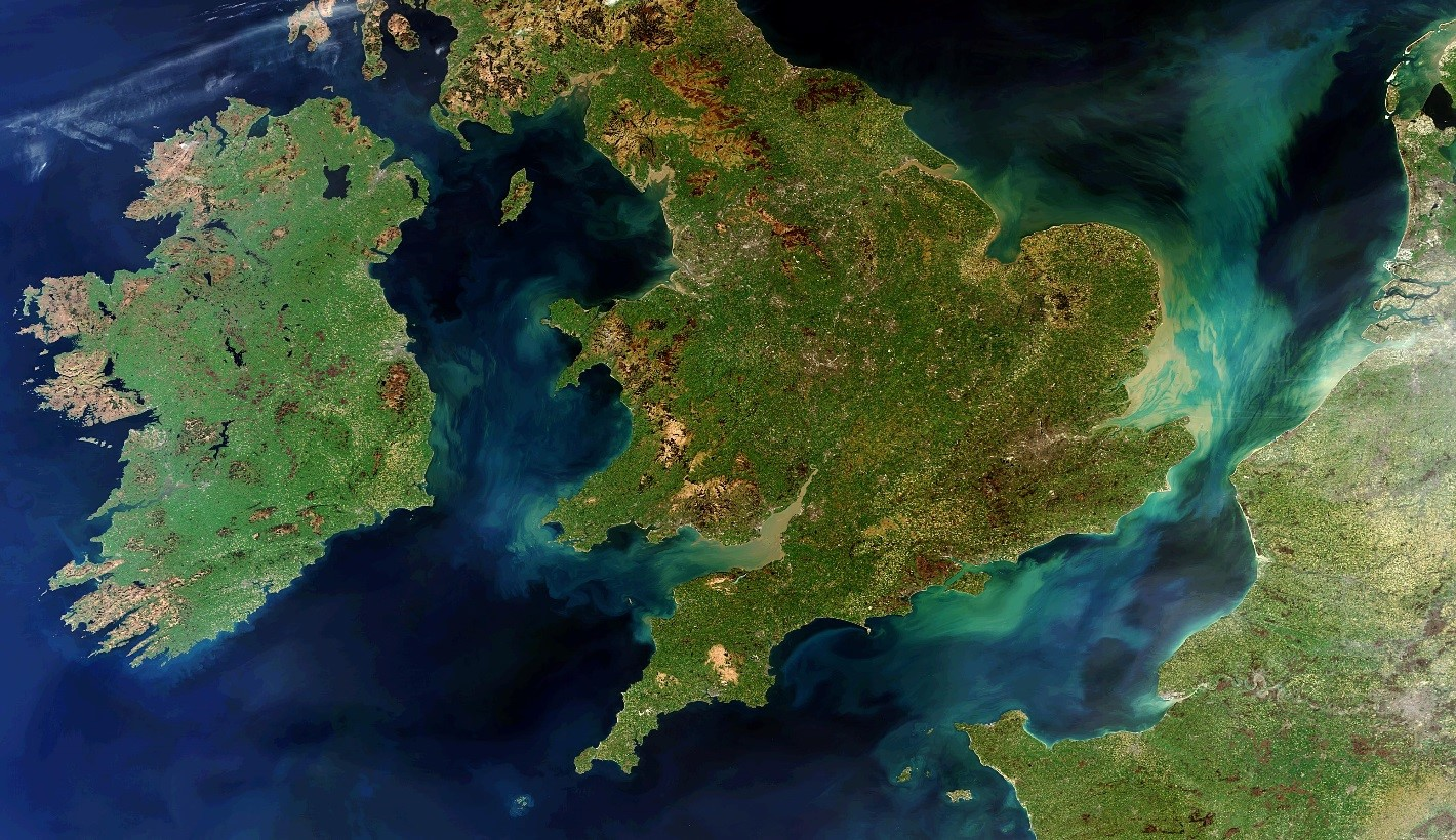 Satellite picture of Ireland and England.