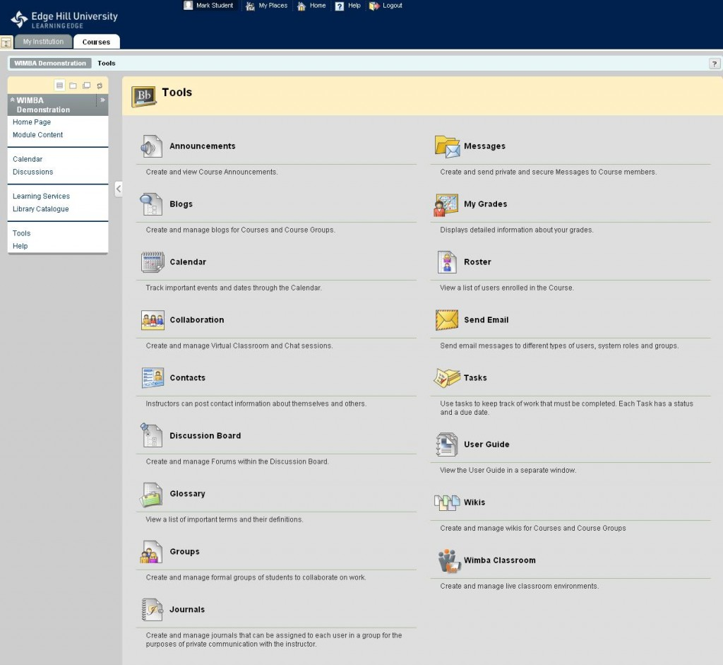 Bb9.1 Course Tools screen capture