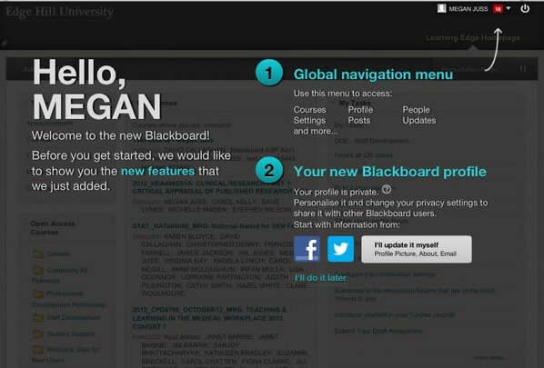 Blackboard Welcome Profiles Screenshot