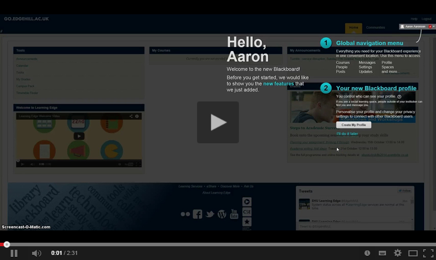 video that goes through the process of creating a Blackboard profile
