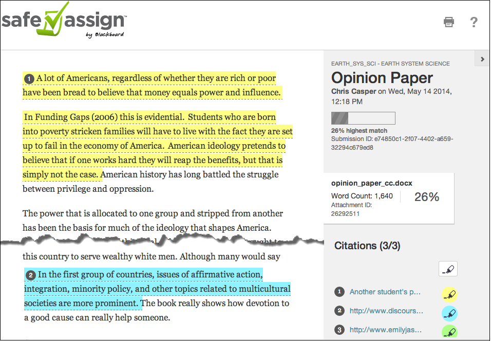 safe assignment for students Overview: safeassign is used to review assignment submissions for potential plagiarism and to help students understand proper source attribution practices.