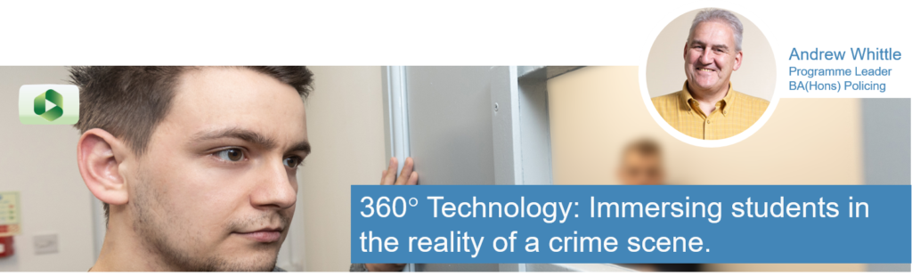 "Student (Police Officer) peering into the Crime House mock cell containing a student playing the part of a prisoner.  Andrew Whittle is pictured in the scene.  The caption says ""360-degree technology: Immersing students in the reality of a crime scene."