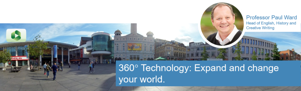 "360 view of Williamson Square Liverpool, Professor Paul Ward pictured in the scene, The caption says ""360 degree technology: Expand and change your world""."