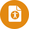 Orange filled circle containing an Accessibility figure set within a document page.