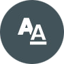 "Grey filled circle containing an sample fonts represented by an ""A"" and ""A underlined"" ."