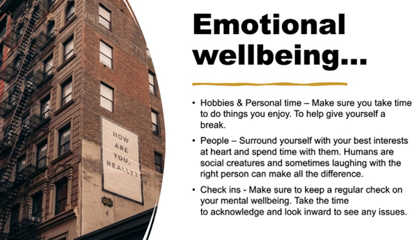 A PowerPoint slide showing different methods of how to keep your Emotional wellbeing healthy.