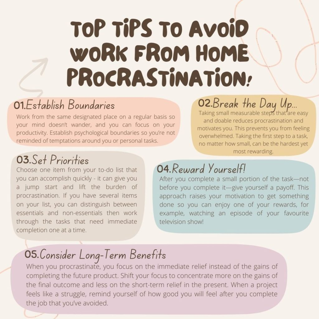 Top tips to avoid work from home procrastination. 1. Establish boundaries. Work from the same designated place on a regular basis so your mind doesn't wander, and you can focus on your productivity. Establish psychological boundaries so you're not reminded of temptations around you or personal tasks. 2. Break the day up ... Taking small measurable steps that are easy and doable reduces procrastination and motivates you. This prevents you from feeling overwhelmed. Taking the first step to a task, no matter how small, can be the hardest yet most rewarding.