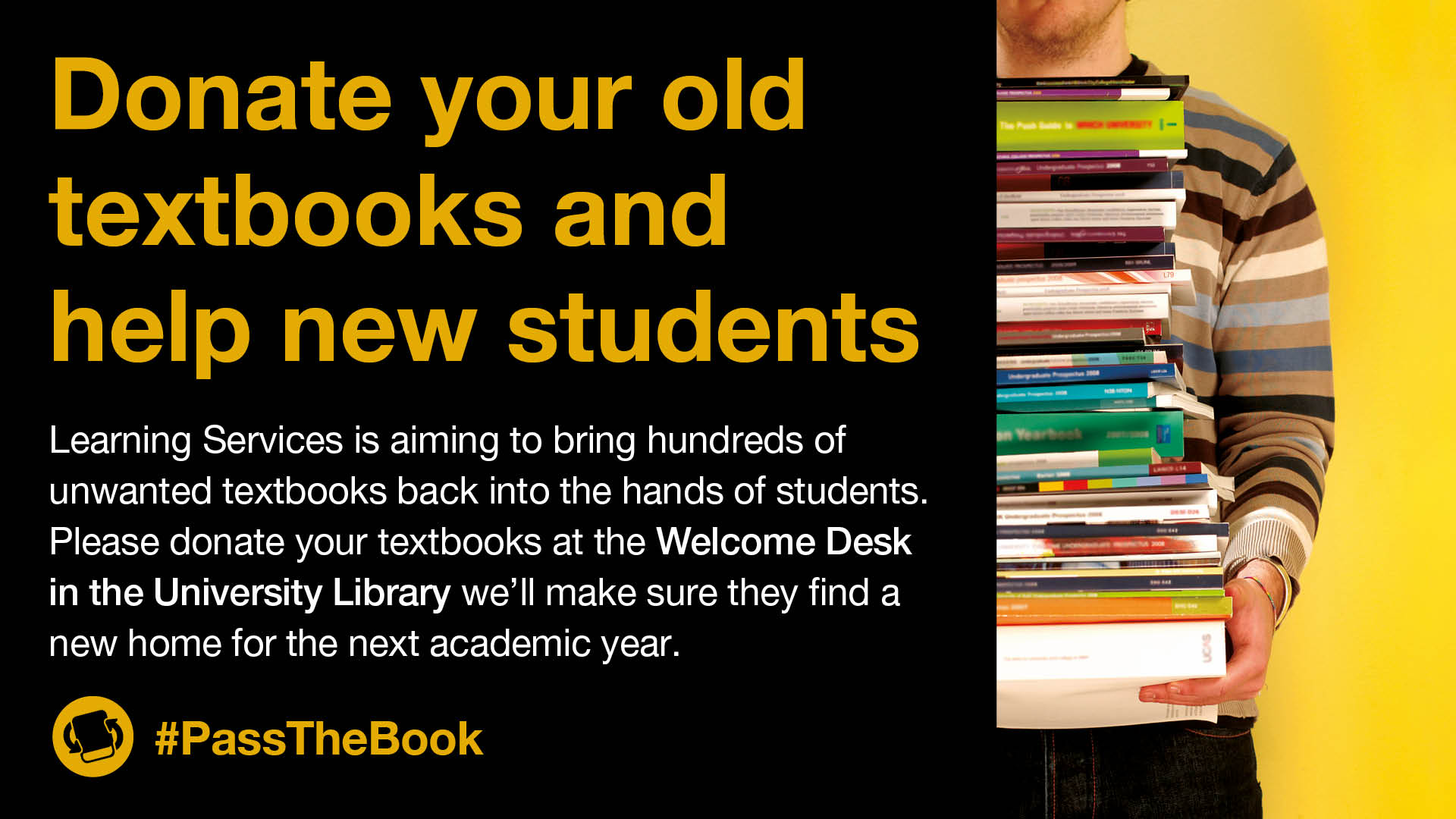 Donate your old textbooks to help new students! | Library & Learning