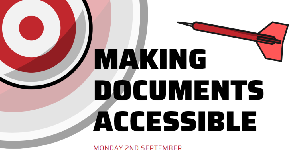 Making documents accessible session taking place on Monday 2nd September