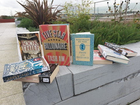 Display of fiction book on Catalyst roof garden.