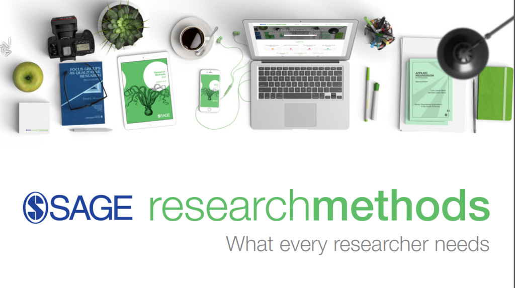 An image for Sage Research Methods. In the image, a laptop, books and other items can be seen. The slogan reads 'what every researcher needs'.