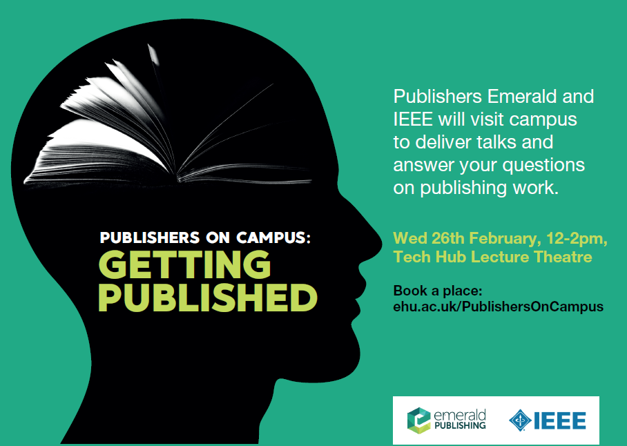 a flyer image promoting the 'publishers on campus' event on 26 February