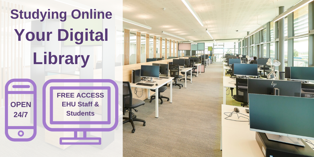 Image of Catalyst silent study room with text: Studying Online: Your Digital Library