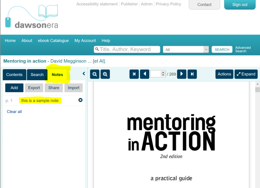 This is a screenshot of the Dawson Era platform, and displays the ebook 'Mentoring in Action'. On the left-hand menu, the area where notes are kept is highlighted.