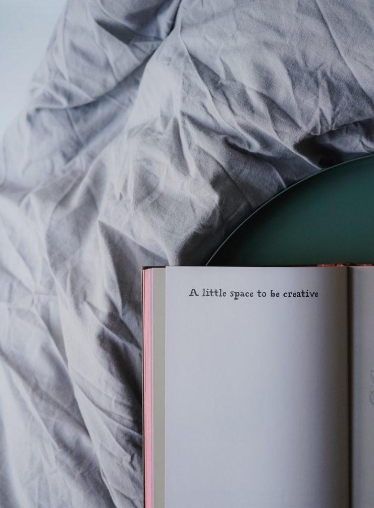 "image of a notebook that says ""a little  space to be creative"""
