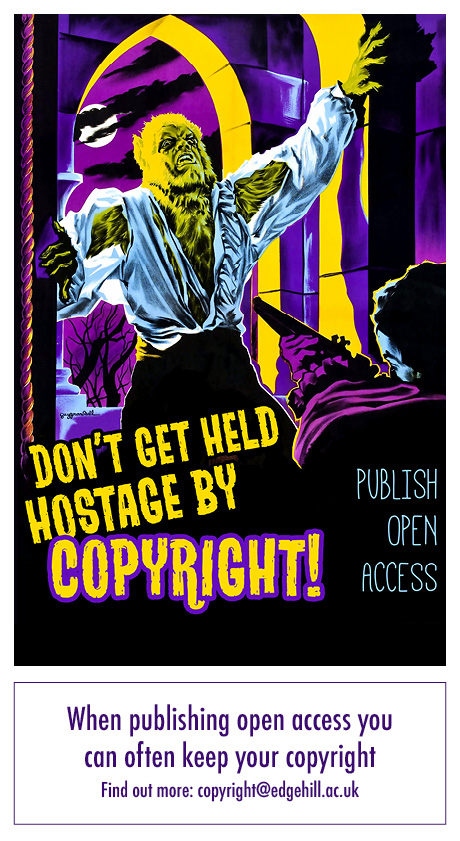 "A movie poster image with a werewolf entering a house through the window. The text reads, ""Don't be held hostage by copyright! Publish open access"""