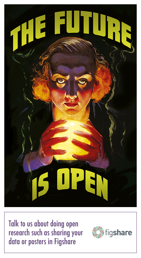 "A poster featuring a woman looking towards the viewer and holding a crystal ball. The text reads, ""The future is open""."