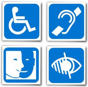 Four blue and white symbols that represent a range of disabilities including physical, audio and eyesight.