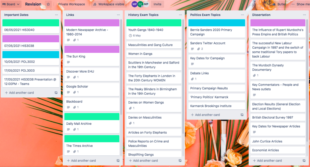 Trello board with various cards such as important dates, links, history exam topics, politics exam topics and dissertation.