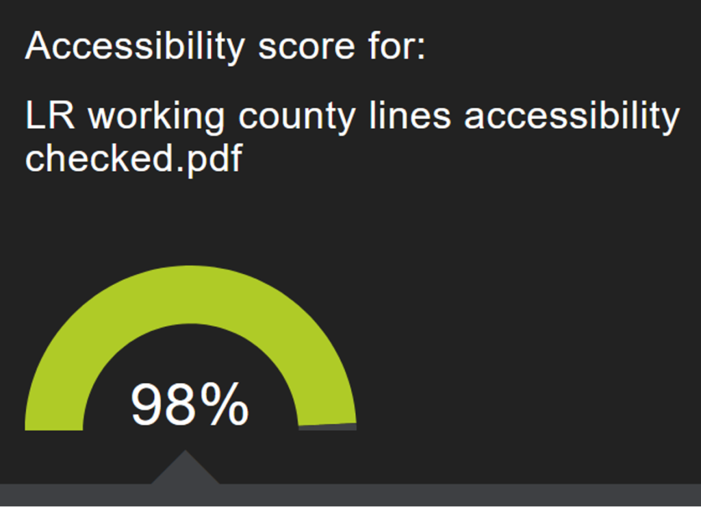 accessibility score for a PDF file reading 98%. The green colour indicates this is positive.