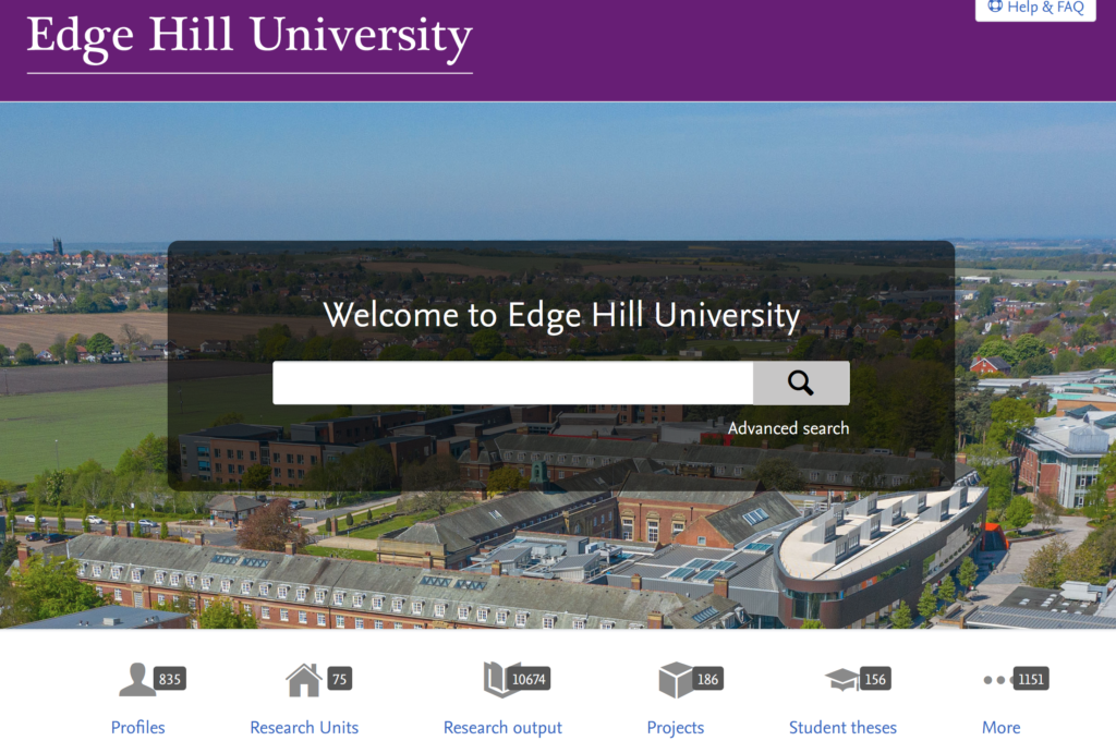 Home page of Edge Hill Pure