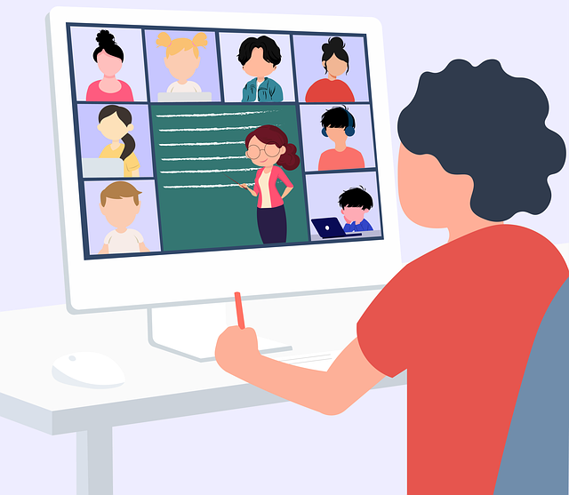 cartoon. A student looks at the computer screen with others in the video call, including a teacher.