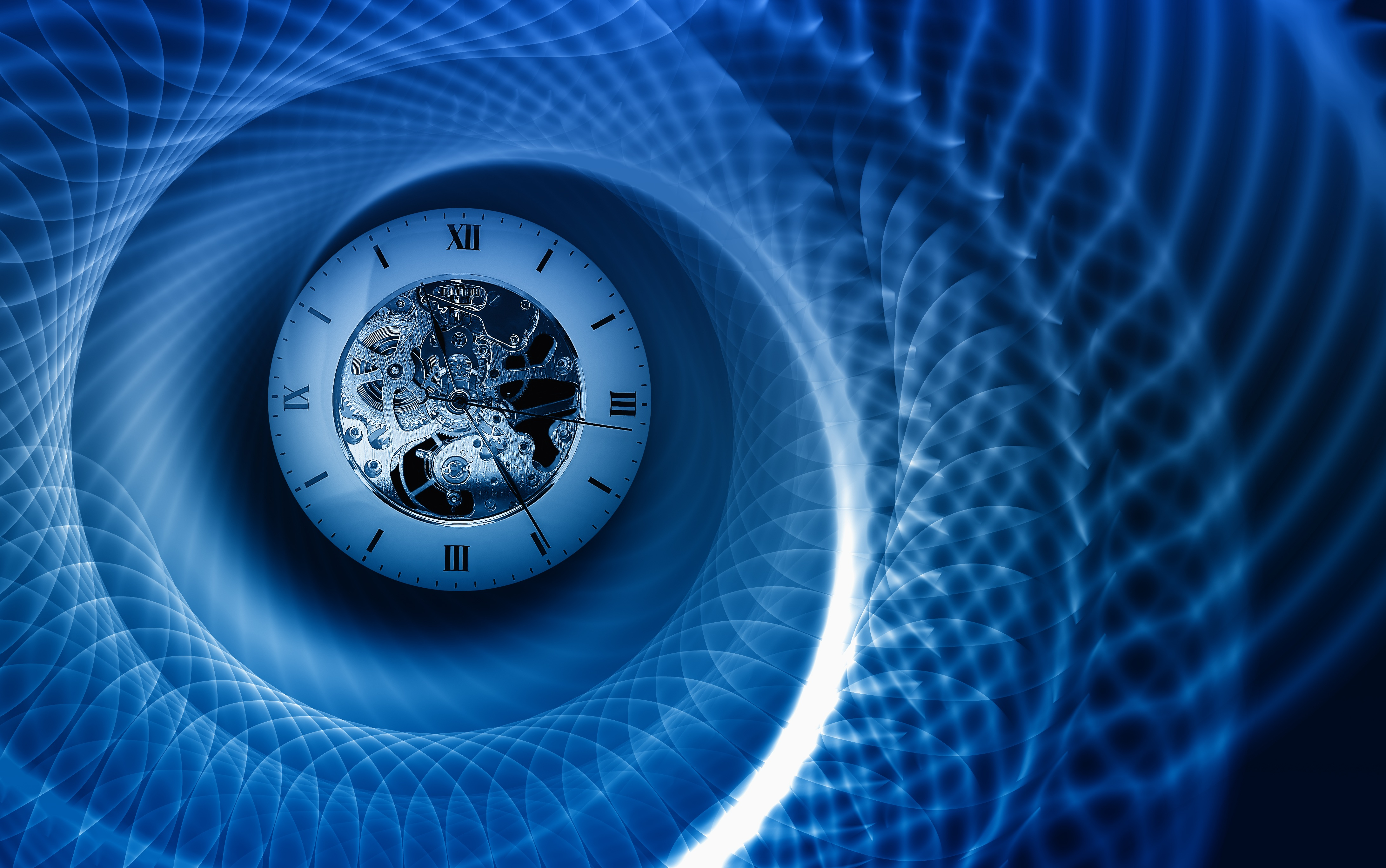 Time spiral image with clock in centre
