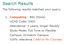 Edge Hill's computing search result