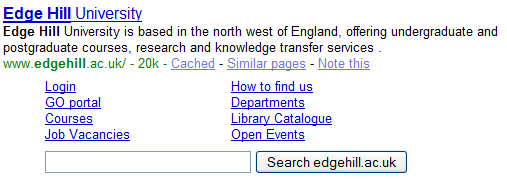 Google Site Search for Edge Hill University