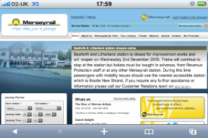 Merseyrail website on an iPhone