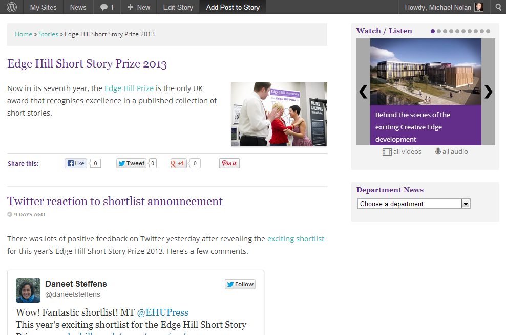 Edge Hill Short Story Prize 2013 - News - Edge Hill University(2)