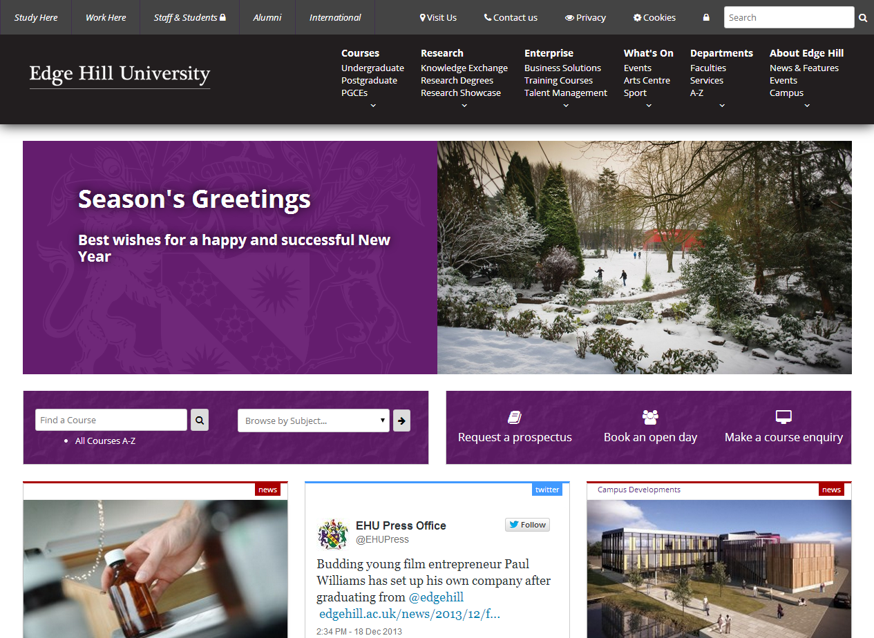 New Edge Hill University homepage