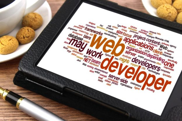 Web developer skills word cloud on a tablet.